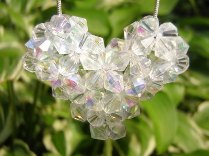 Swarovski Crystal Puffy Heart Necklace in Crystal Aurora Bor
