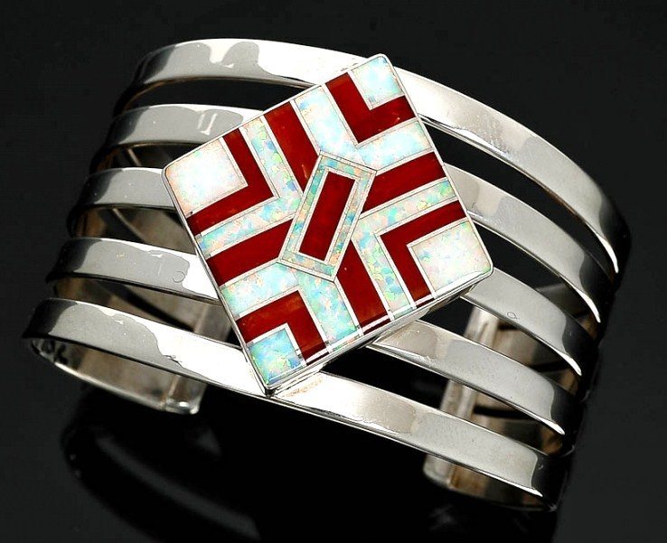 Native American Sterling Coral Lab Opal Cuff Bracelet