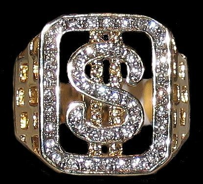Iced Bling Casino Lottery Dollar Sign Money Ring Size 10 Gold Plated