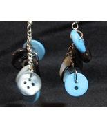 Black and Blue Button Dangle Earrings - Unique ... - $5.00