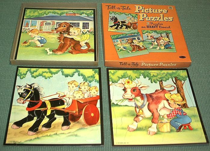 Vintage 1958 Whitman 3 Tell-A-Tale Childrens Puzzles in Box excellent condition!