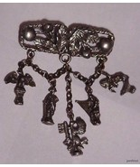Art Nouveau Silvertone Chatelaine with 5 Append... - $29.65