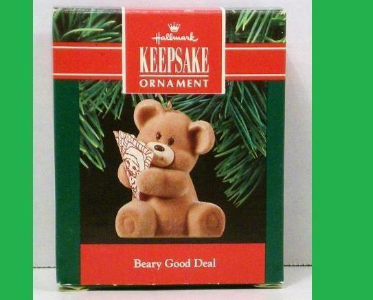 Beary Good Deal Hallmark Keepsake Ornament fuzzy Bear 1990