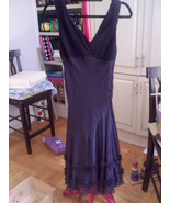 Vintage BCBG Black Chiffon V Neck Dress Size 6 ... - $24.99