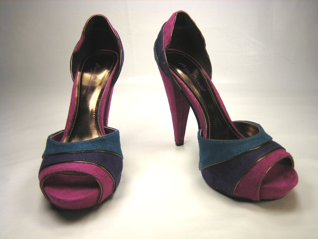 Anne Michelle covered platform open toe d'Orsay pumps 4.5 inch heels multi color