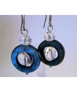 Earrings Sterling Silver Clear Crystals Spin in... - $9.99