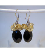 Earrings Sterling Silver Dangle Black Onyx Yell... - $9.99