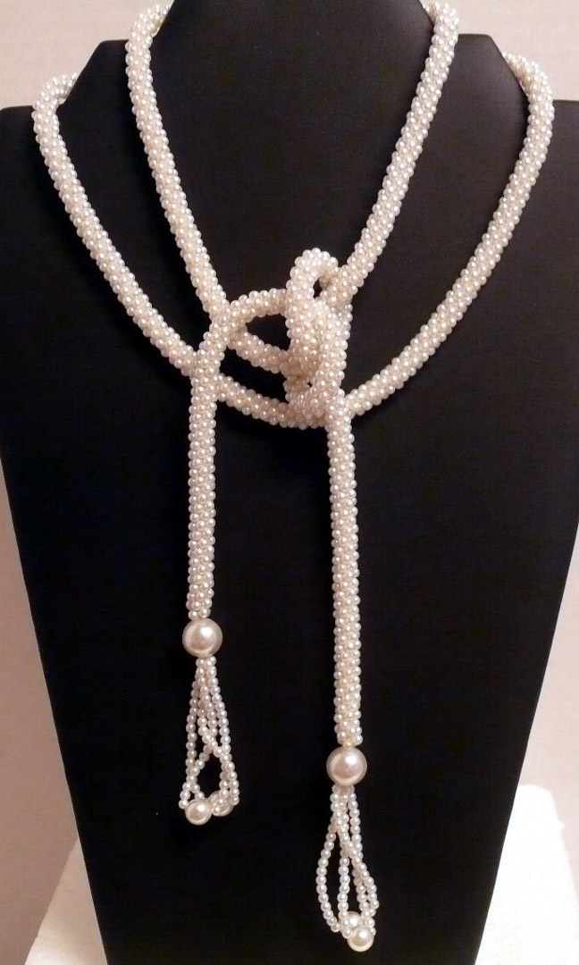 "Rope Necklace~55"" Long~White Faux Pearl Seed Beads~Flapper Style"