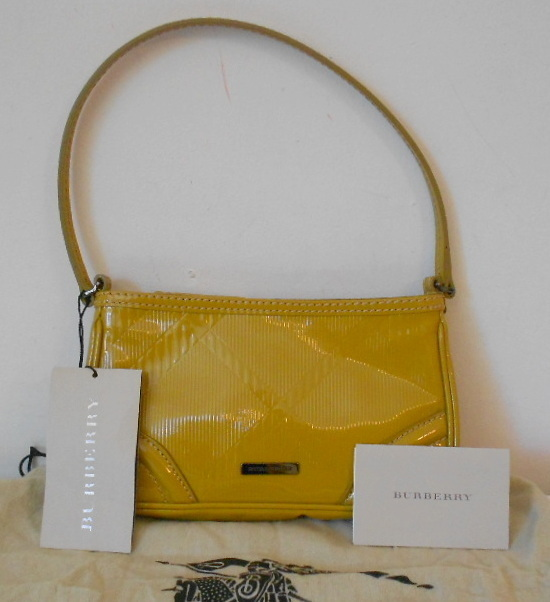 BURBERRY GOLD OXIDE MUSTARD ASTON EMBOSSED CHECK PATENT LEATHER MINI BAG NWT