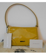 BURBERRY GOLD OXIDE MUSTARD ASTON EMBOSSED CHECK PATENT LEATHER MINI BAG NWT  - $329.99
