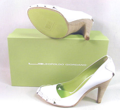 398 LEOPOLDO GIORDANO WHITE HEELS SHOES 41 10