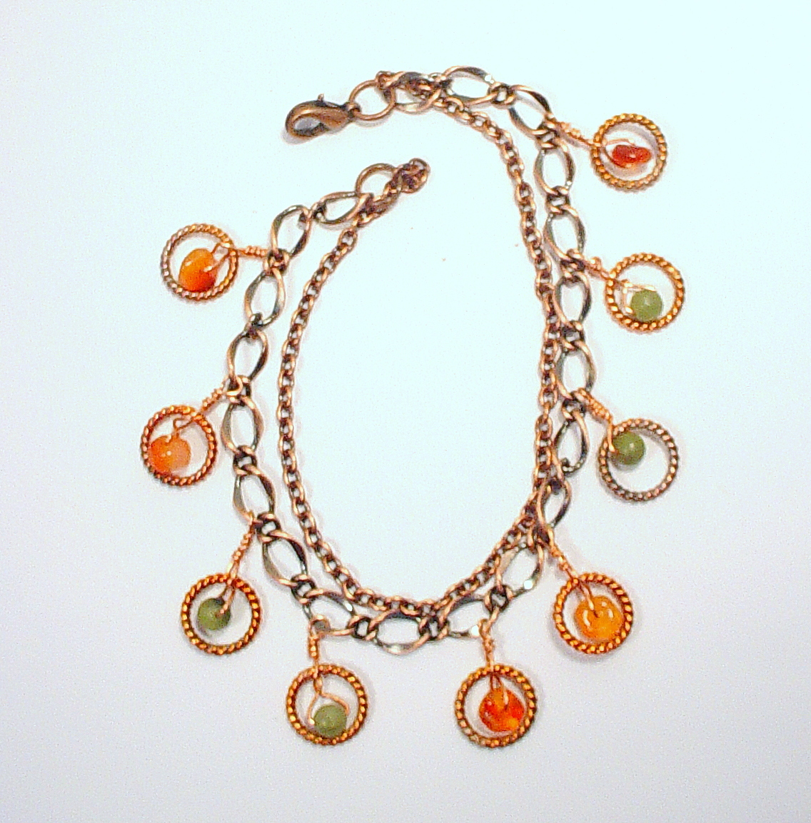 Copper Chain Bracelet with Carnelian and Afghan Jade