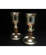 Homco Brass and Wood Candle Holder Set   - $16.99