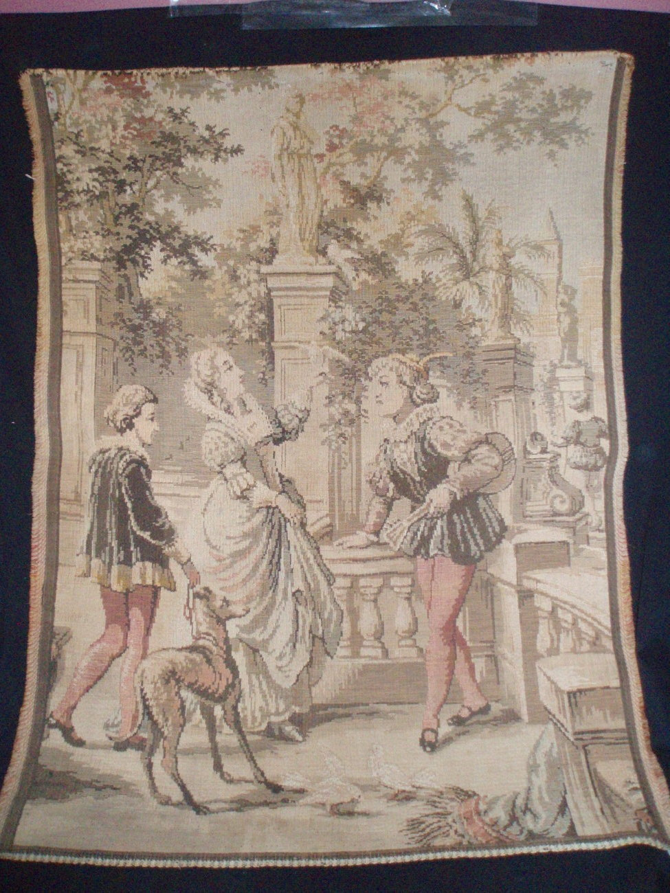 Antique Tapestry wall hanging medieval figures