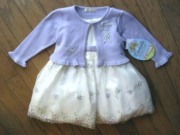 Girls Off White Party Dress Wedding American Princess Purple Sweater Size 18 mos