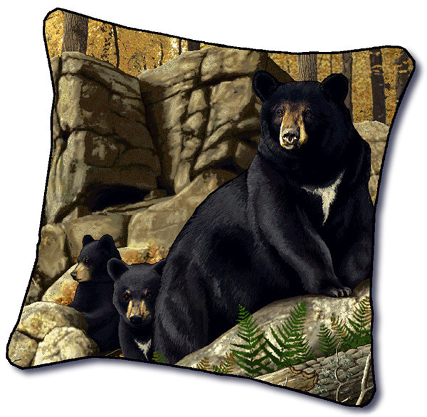 "18"" BEAR Cub Wildlife Nature Tapestry Cushion Pillow"
