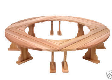 4 Pc Quarter Round Western RED CEDAR Wood Garden Bench