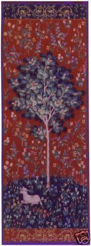 73x29 Medieval OAK TREE Lamb Tapestry Wall Hanging