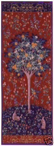 73x29 Medieval ORANGE TREE Rabbit Tapestry Wall Hanging