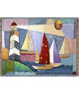 70x54 LIGHTHOUSE Sailboats Boat Tapestry Throw ... - $49.95