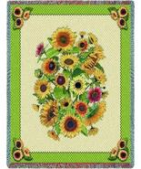 70x54 SUNFLOWERS Floral Tapestry Throw Blanket  - $49.95