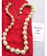 KENNETH JAY LANE WOVEN CHAIN SIMULATED PEARL NE... - $28.00