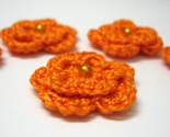 Buy Flowers - 5 crochet flowers orange