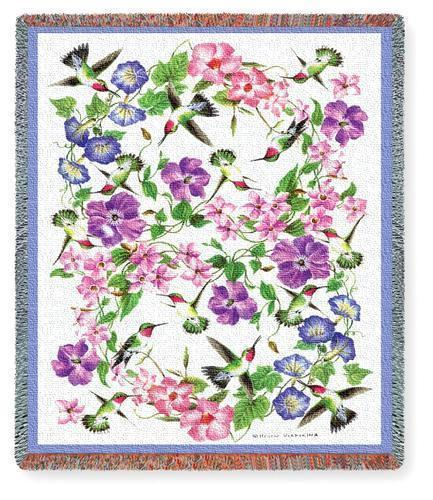 70x54 HUMMINGBIRD Tapestry Floral AFGHAN Throw Blanket
