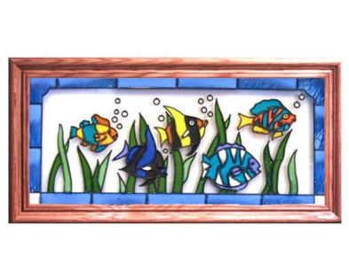 22x11 Stained Art Glass TROPICAL FISH Framed Suncatcher