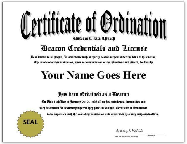 Deacon Ordination Certificate and License Be a Ordained Deacon ...
