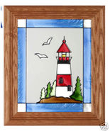10x12 Stained Art Glass LIGHTHOUSE Framed Sunca... - $34.50