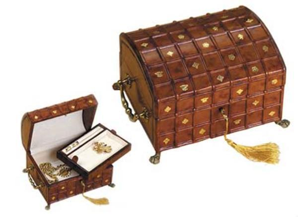 Leather Jewelry Box with Side Handles
