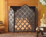 Buy Iron 3 Three Panel Fireplace Screen Diamond Pattern