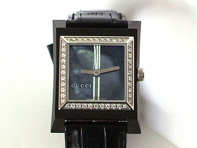 GUCCI Stainless Steel Diamond Bezel Watch with Leather Strap NEW Retail $3,395