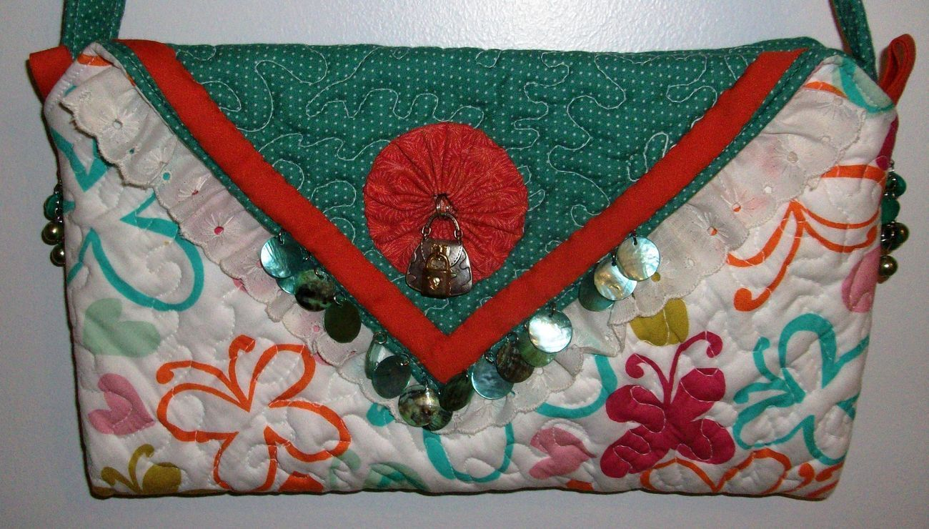 Handmade Quilted Beaded Purse Handbag Original Design by Pursephoric Brand New