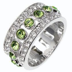 Green Zircon Diamond CZ Eternity Band Ring Size 7