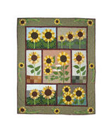 50x60 SUNFLOWER Floral Patch QUILT Blanket Throw  - $115.00