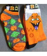 2 Pairs Orange Halloween Ladies Socks Witch & P... - $5.99