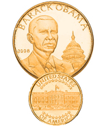 BARACK OBAMA LAYERED IN 24K GOLD BULLION - $950.00