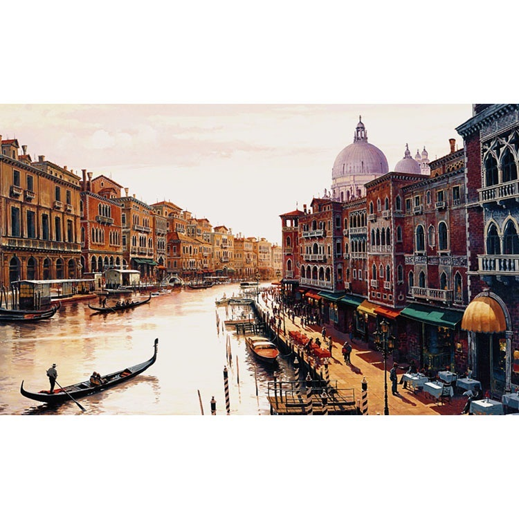 """Canal of Venice"" Painting by Hava, 47X35 Giclee Canvas"