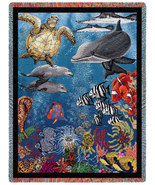 70x54 Ocean Sea Turtle Dolphin Fish Tapestry Af... - $48.00