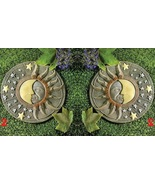 2 Celestial Moon Sun Face Stepping Stones Glow ... - $27.00