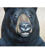 Carved Wood Black Bear Shelf Carving Sculpture Art - $395.00