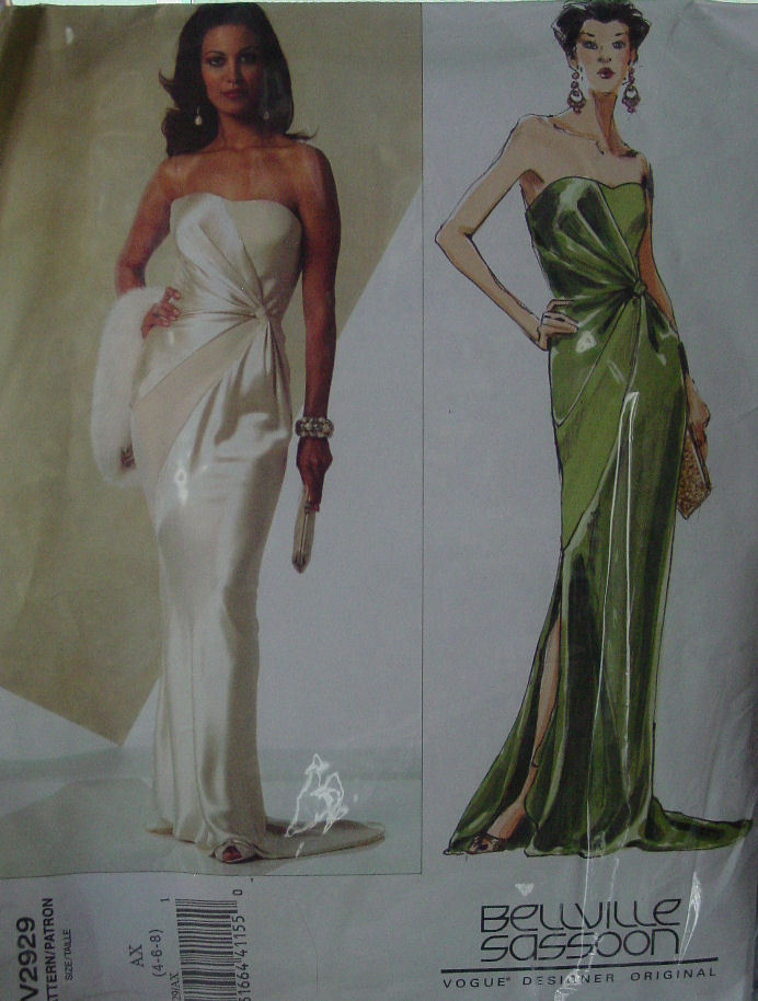 Vogue Pattern 2929 sz  4,6,8 Wrap Style Evening, Formal Dress