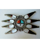 Large Old Zuni Stone to Stone Inlay Pin with Su... - $325.00