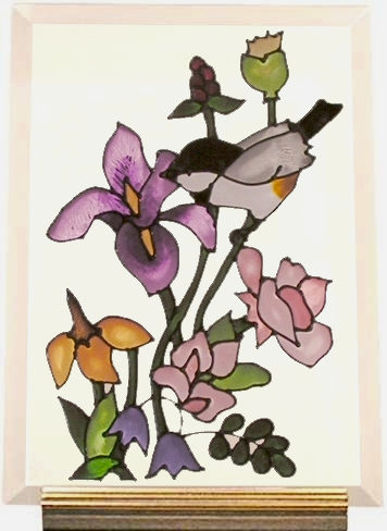 7x10 Handpainted Glass CHICKADEE Flower Standing PLAQUE