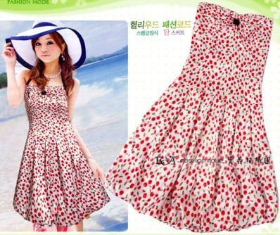 Lovely Teens' Party Bubble Dress with Cherry Print