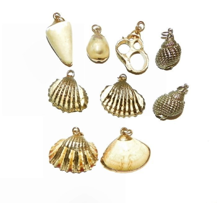 Vintage Genuine Shell Pendants, Lot of 9-Edged in Gold