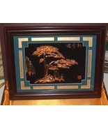 3D Oriental Shadow Box Wall Art Gold Tree and M... - $34.99