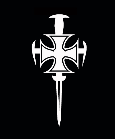 White Vinyl Medieval Gothic Cross Sword Decal Sticker